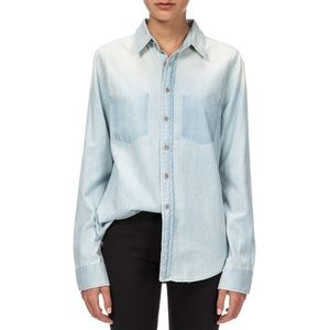 MOTHER DOUBLE FOXY BUTTON DOWN SHIRT DENIM BLUE